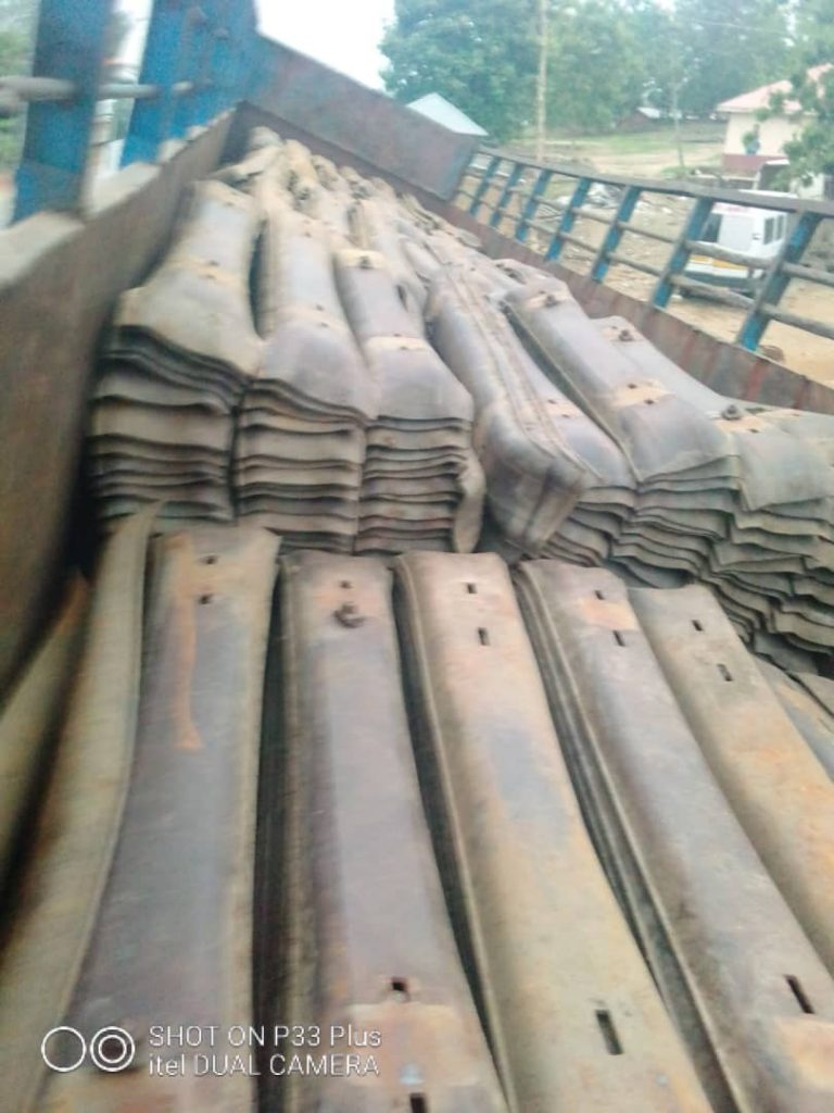 Some recovered stolen  rail track sleepers in Kaduna