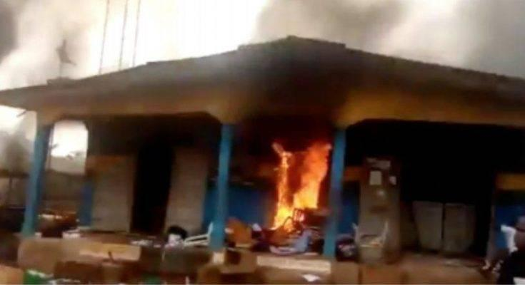 The Ubakala Divisional Police Station in Umuahia, Abia set ablaze with explosives