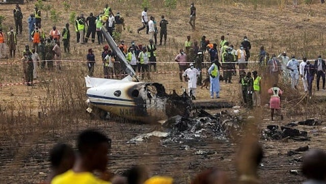 The remains of the crashed Beechcraft aircraft