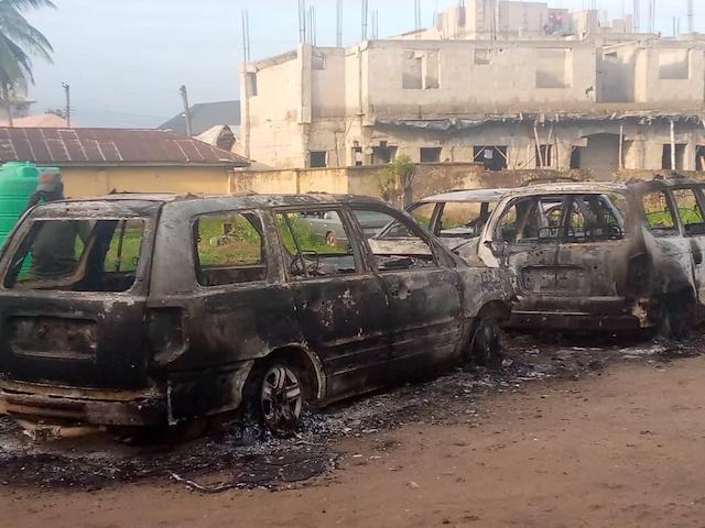 Vehicles burnt inside the Ubakala Divisional Police Station in Umuahia