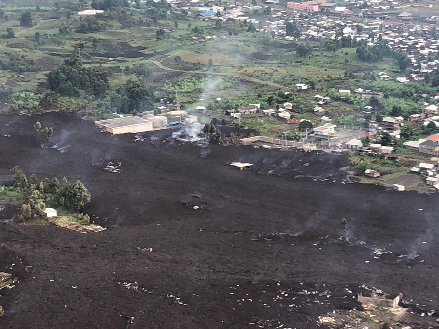 aerial view of Goma after the Mount Nyiragongo volcanic eruption