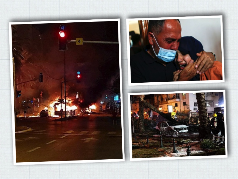 combo photos show, Hamas rocket attack on a bus in Tel Aviv, a medic consoles a woman and below a bombed Gaza area