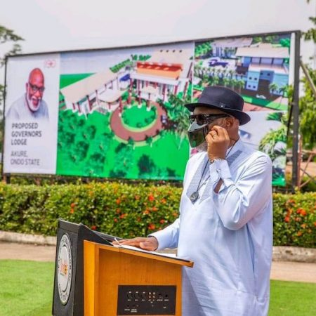 Akeredolu at the foundation laying ceremony for new Ondo governor's lodge