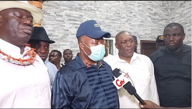 Akpabio after his peace meeting in Oporoza, left is deputy governor Otuaro