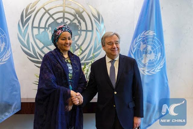 Amina Mohammed and UN Secretary General Antonio Guterres
