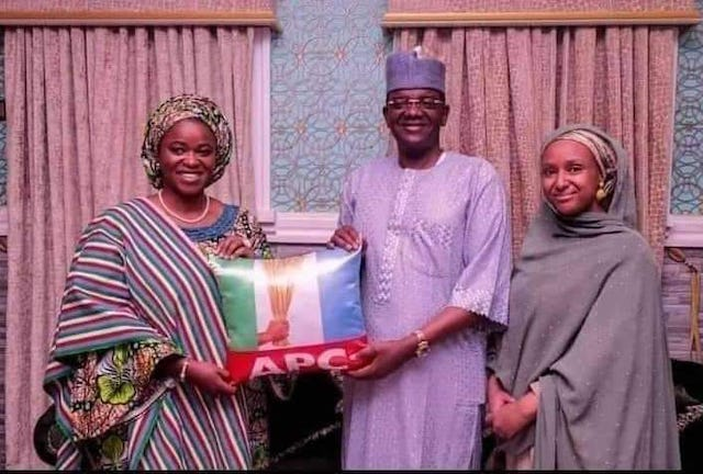 Bello Matawalle with his wives