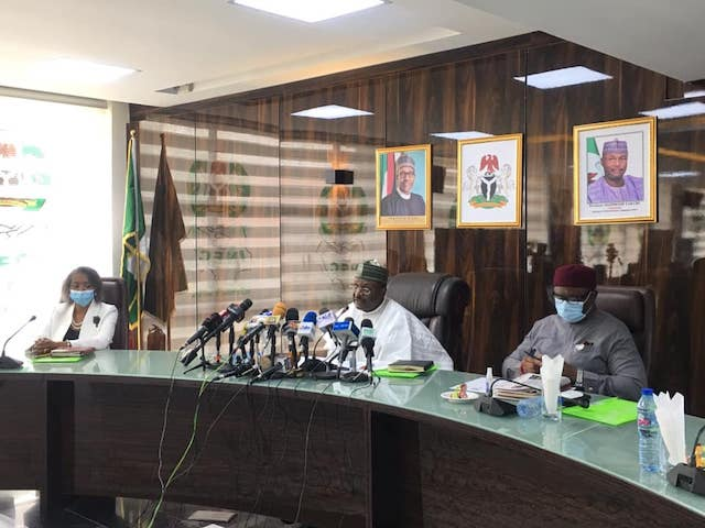 INEC chairman Yakubu announcing dates for Osun and Ekiti eletions