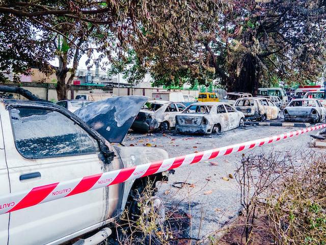Some of the burnt vehicles at OPIC Plaza