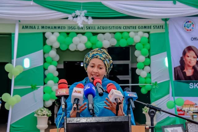 Amina Mohammed speaks at Skills centre in her name at Gombe