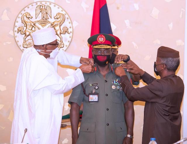 Buhari and Osinbajo decorate Yahaya