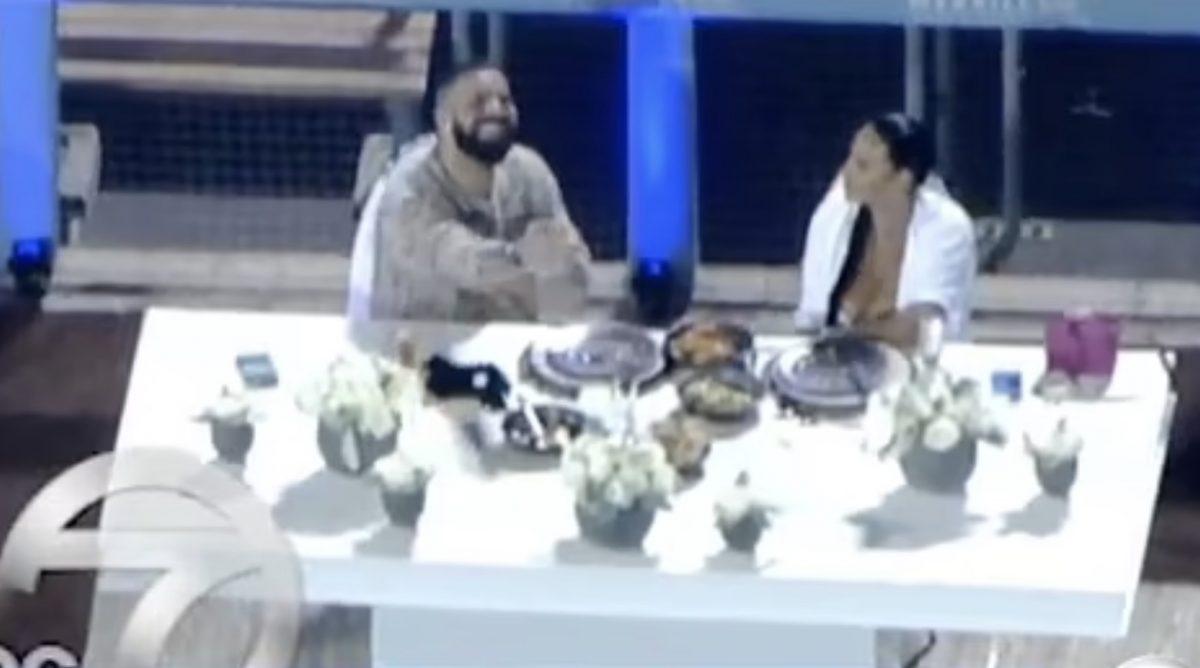Drake on Thursday night with Johanna Leia at an empty Dodgers Stadium. Photo ABC 7