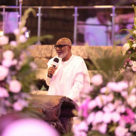 Ondo State Governor, Mr Rotimi Akeredolu speaking at the laying-to-rest service in honour of TB Joshua at the church. Photo by Ayodele Efunla