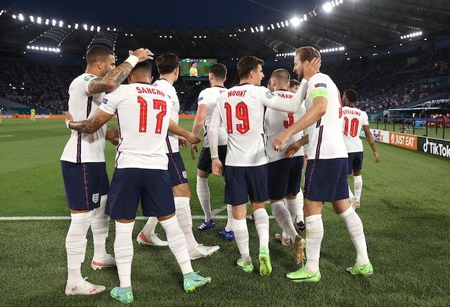 England team rejoice after first goal