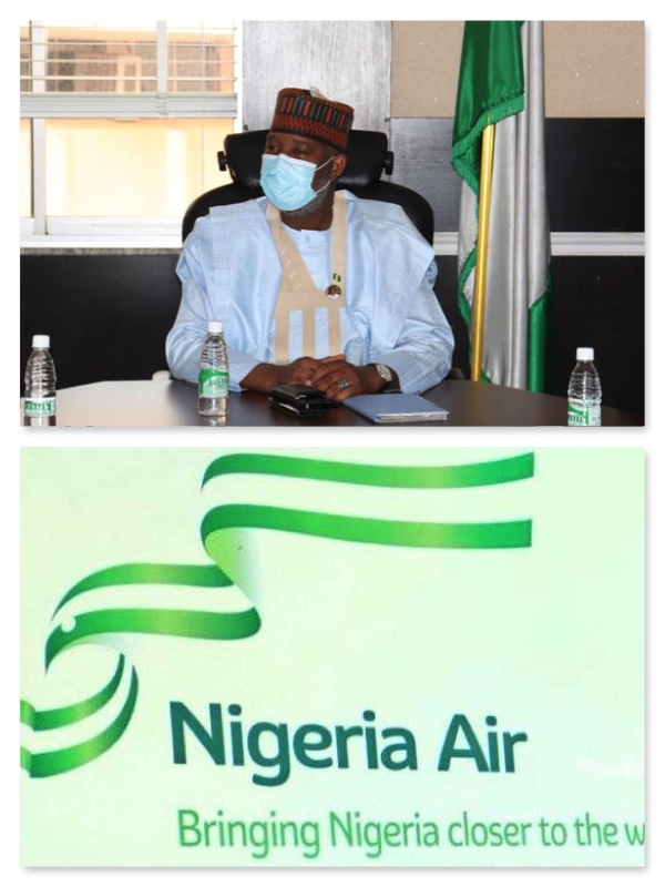 Hadi Sirika and Nigeria Air logo