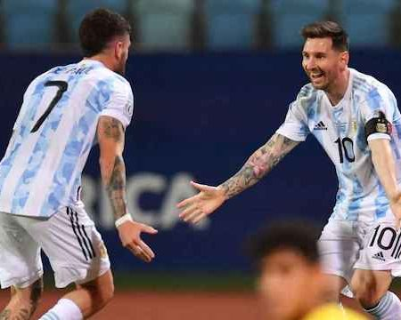 Messi, right rejoice with De Paul after the first goal for Argentina in Copa America