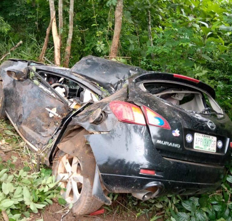 The crashed vehicle innvolving the Iperu General Hospital matron and her husband