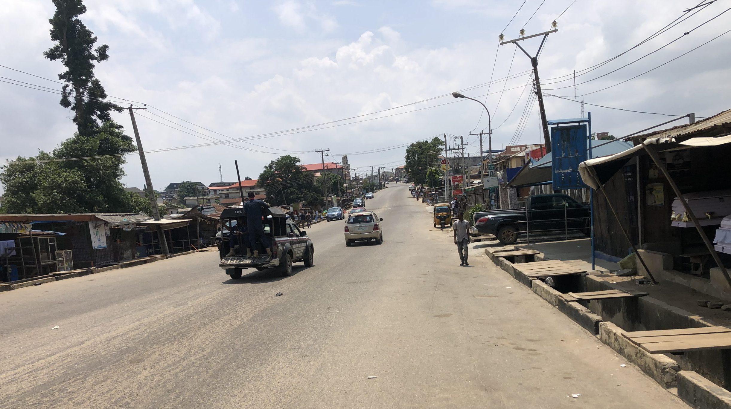 Deserted street in Ikorodu as van of NSCDC patrols across polling units