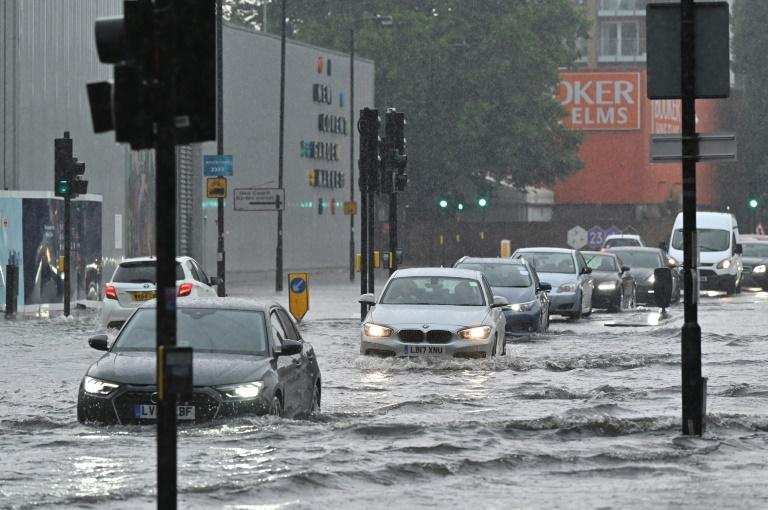 A flooded road in London on Sunday