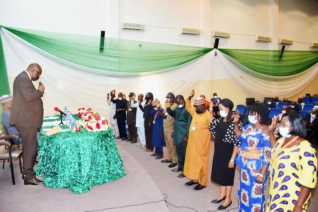 Aso Rock staff swearing to the oath of secrecy in Abuja today