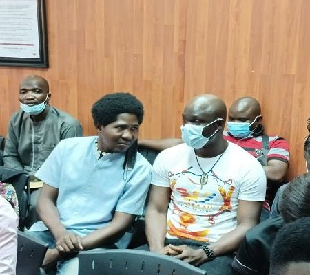 Baba Ijesha, right, in court Tuesday with Kehinde Aghedo