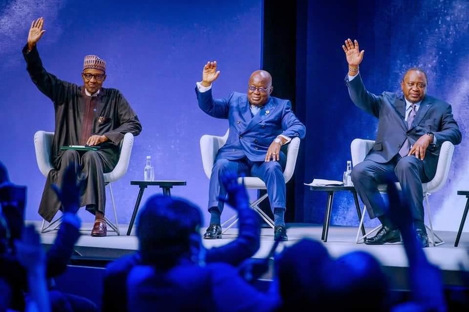 Buhari with Akufo-Addo and Uhuru Kenyatta at the education summit in London