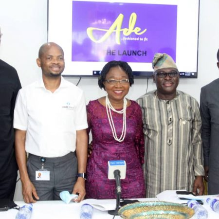 L-R; Managing Director, Flow Universal Solutions Ltd, Ikechi Odigbo; Senior Pastor, Daystar Christian Centre, Pastor Kenny Folarin; Chairman, The Wardrobe, Engr. Leke Awofeso; Managing Director, The Wardrobe, Mrs. Ade Awofeso and Managing Director, Credit Direct Limited, Mr. Akinwande Ademosu, at the launch and formal unveiling of fashion brand 'Ade' fashioned to fit, in Lagos, today.