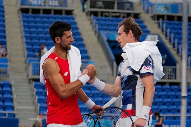 Djokovic after practising with Andy Murray in Tokyo