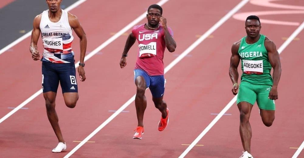 Enoch Adegoke wins 100m heat beating world's fastest man Brommel