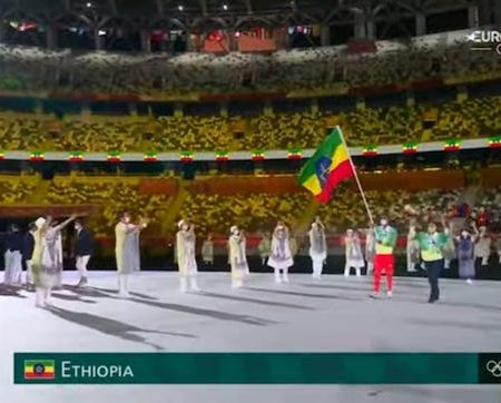 Ethiopia represented at the Tokyo Olympic parade by just two athletes