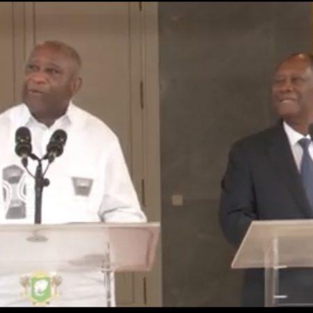 Ex-president Laurent Gbagbo andd his successor Ouattara meet in Abidjan