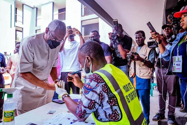 Gbajabiamila being accredited to vote in Lagos council election