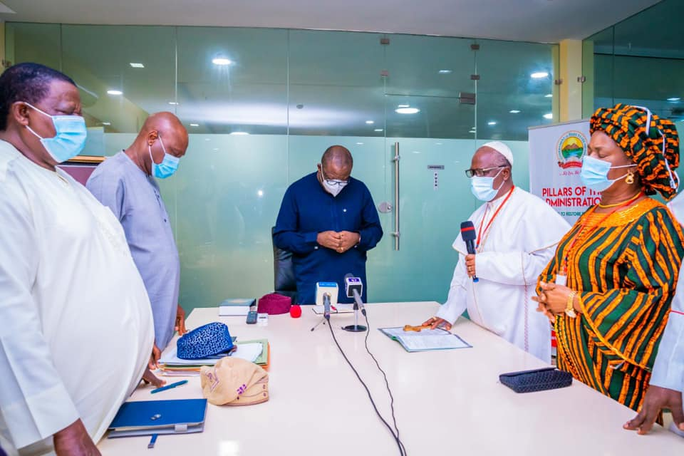Governor Kayode Fayemi received in audience Prelate of the Methodist Church Nigeria (MCN), His Eminence, Dr Samuel Chukwuemeka Kalu Uche and his entourage at the Governor's Office, Ado-Ekiti