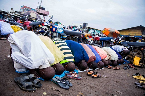 Muslims gathered outdoor to pray in Kara area of Ogun state, earlier today