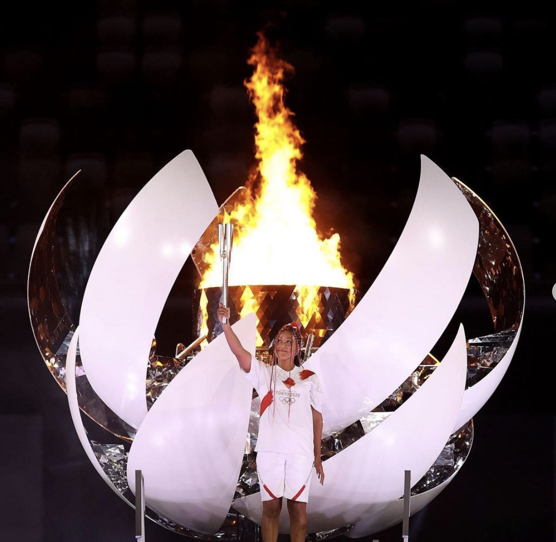 Naomi Osaka lighting the Olympic Cauldron