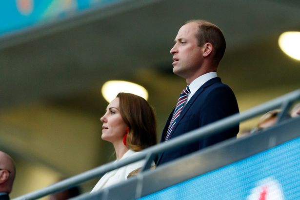 Prince William with his wife at Wembley: deplores attacks on Saka and co
