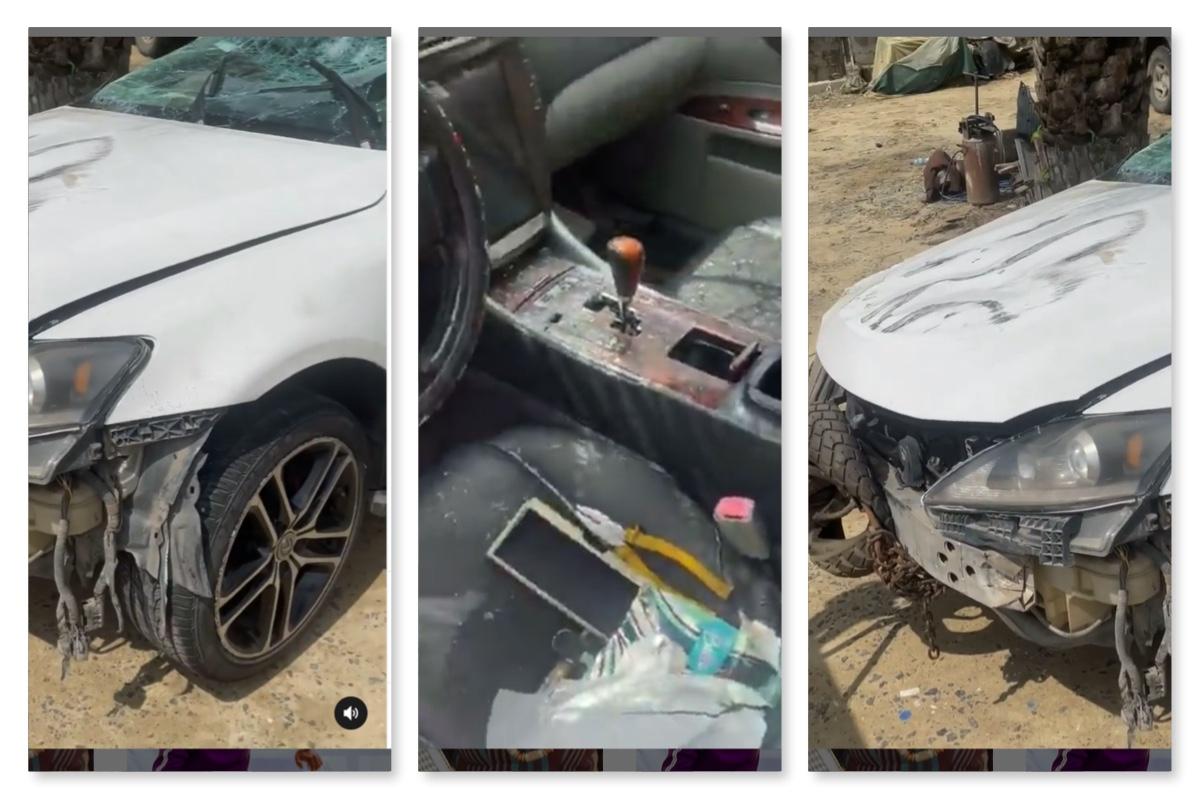 Screenshots of the crashed Lexus Saloon of Oluwadolarz