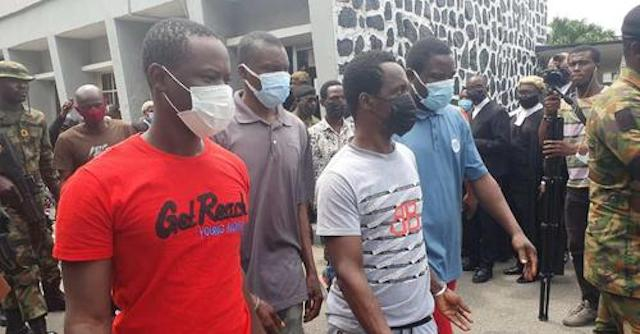 Some of the pirates jailed in Lagos on Friday