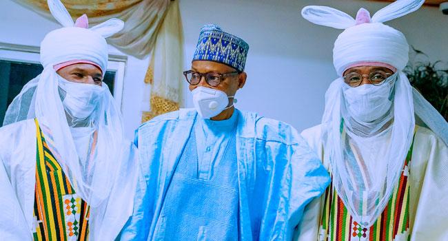 Talban Daura Yusuf Buhari, with President Buhari and Musa Daura last Tuesday