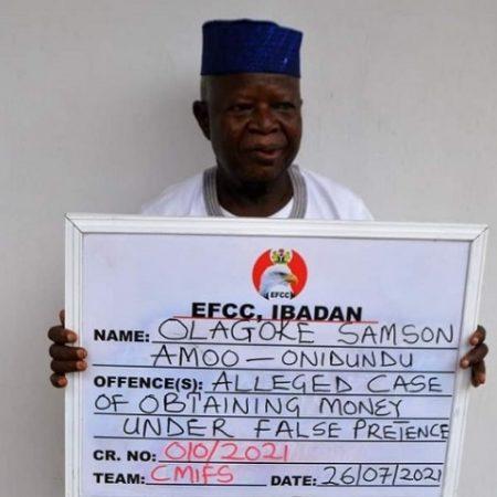 Chief Amoo-Onidundu, Baale of Onidundu area of Akinyele, Oyo State arraigned for land fraud.