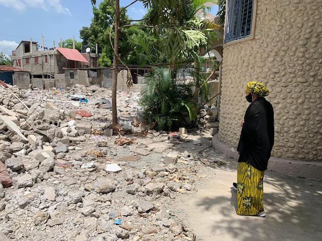 Amina Mohammed inspects the ruins left by Haiti earthquake