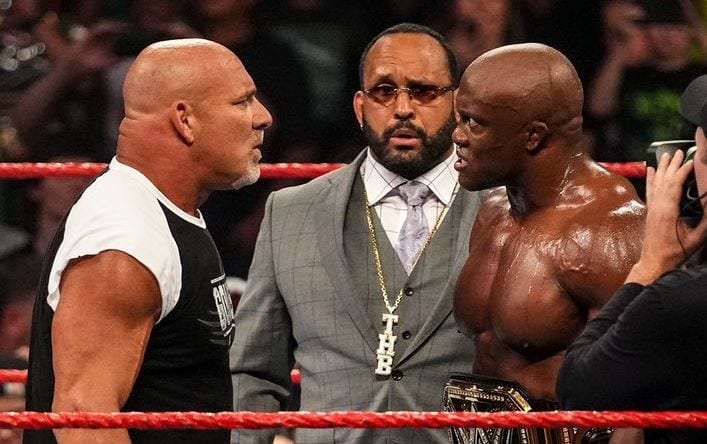 Bobby Lashley, right accepts Goldberg 's summerslam challenge