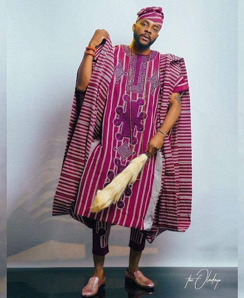 Ebuka poses in the 'Olode Metta' three- piece Aso Oke agbada