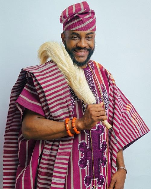 Ebuka looking regal in his 'Olode Metta' three- piece Aso Oke agbada