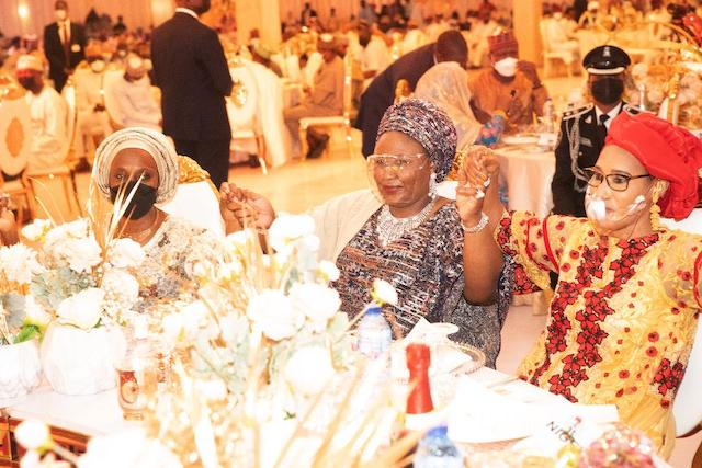 First Lady Aisha with Dolapo Osinbajo and another guest