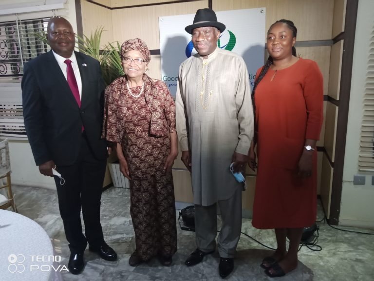 Jonathan and Sirleaf, middle, with Liberian ambassador Professor  Al-Hassan Conteh, left and Ann Iyonu, executive director of Jonathan Foundation