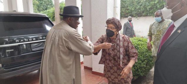 Jonathan and ex-Liberian leader Ellen Johnson Sirleaf