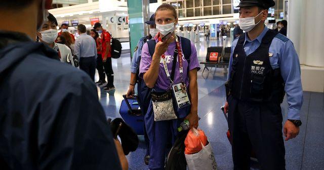 Krystsina Tsimanouskaya at the Tokyo airport on Sunday