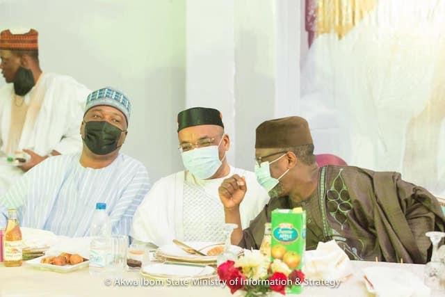 L-R Saraki, Govs Udom Emmanuel and Sani Bello