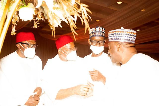 Masked up, but we can see Nuhu Ribadu, second right
