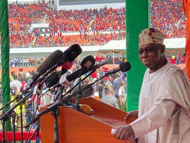 Obasanjo speaks at Hichilema's inauguration